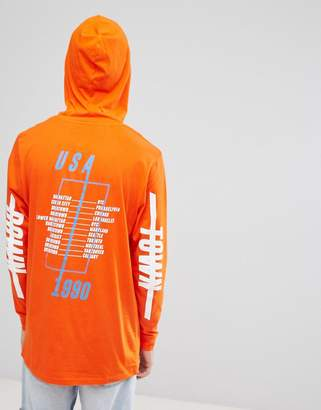 Asos Design Hooded Longline Long Sleeve T-Shirt With City Sleeve And Back Print