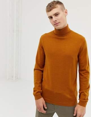 cb08417624acf Asos Design DESIGN merino wool roll neck jumper in mustard