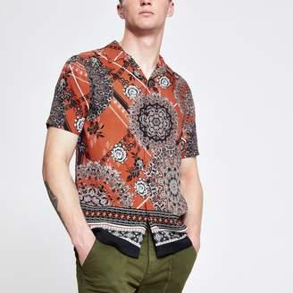 River Island Mens Rust Moroccan tile print short sleeve shirt