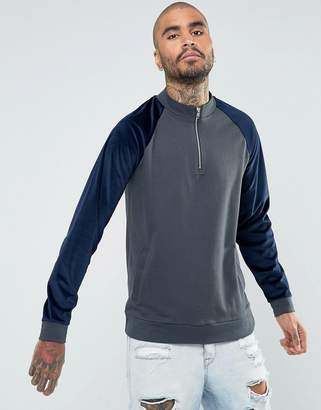 Asos DESIGN Half Zip Track Jacket With Velour Sleeves