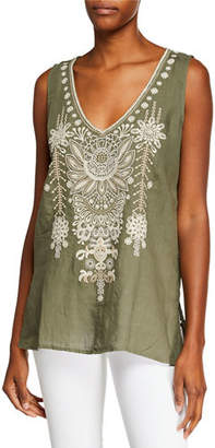 Johnny Was Marik V-Neck Linen Tank with Embroidery