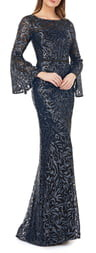 Carmen Marc Valvo Sequin Embroidered Trumpet Gown