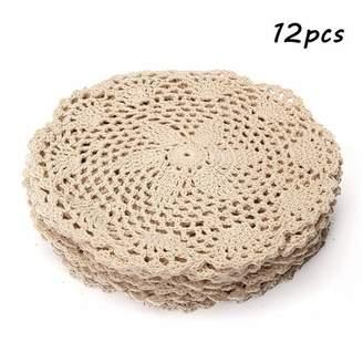 """Wedlies 12Pcs 8"""" Handmade Round Vintage Cotton Lace Flower Crochet Doilies Placemats Table Mat Home Decor"""
