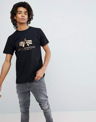 Alpha Industries Gold Foil Logo Crew Neck T-Shirt in Black