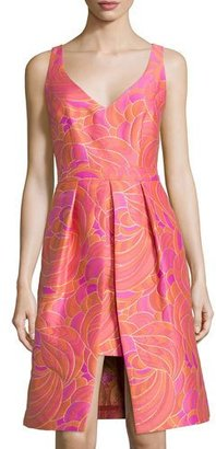 Trina Turk Sleeveless Vented Floral Jacquard Dress $428 thestylecure.com
