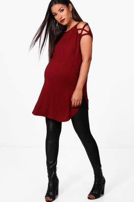 boohoo Maternity Arabella Strappy Detail Shoulder T-Shirt