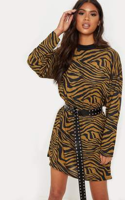 PrettyLittleThing Rust Tiger Print Oversized Jumper Dress
