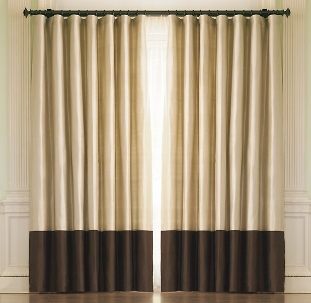 Thai Silk Banded Rod-Pocket Drapes