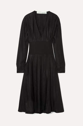 Off-White Lace-up Paneled Jacquard And Jersey Dress - Black