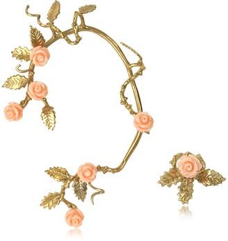 Bernard Delettrez Bronze Ear Cuff w/Pale Pink Resin Roses