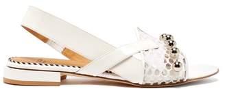 Toga Asymmetric Mesh Patent Sandals - Womens - White