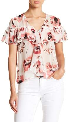OnTwelfth Ruffled Floral Chiffon V-Neck Top