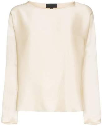Nili Lotan long-sleeved loose fit round neck silk T-shirt