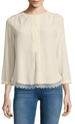 Zadig & Voltaire Roundneck Silk Long-Sleeve Top