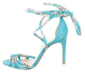 Alexandre Birman Suede Wrap-Around Sandals Blue Suede Wrap-Around Sandals