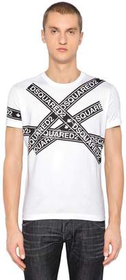 DSQUARED2 Logo Tape Printed Cotton Jersey T-Shirt