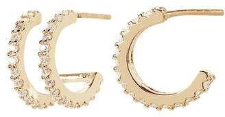 Banana Republic Double Pavé Huggie Hoop Earring