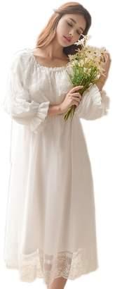 SINGINGQUEEN Women's Victorian Nightgown Vintage Sleepwear Lace Robe Chemise Lounge Dress Pajamas