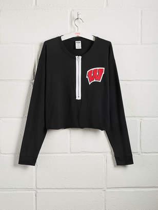 PINK University of Wisconsin Zip-Front Long Sleeve Campus Tee