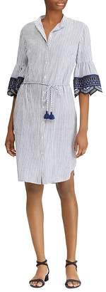 Lauren Ralph Lauren Embroidered Bell-Sleeve Shirt Dress
