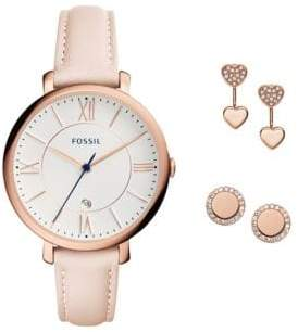 Fossil Jacqueline Rose Goldtone Stainless Steel Watch and Earrings Gift Set