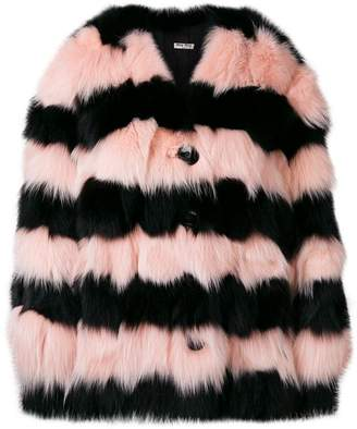 Miu Miu contrast fur jacket