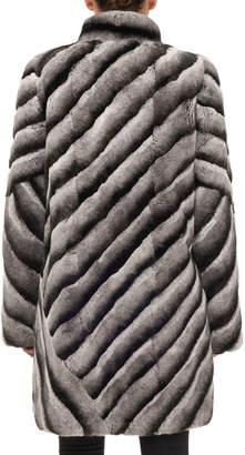 Gorski Diagonal Button-Down Rex Rabbit Fur Stroller Coat