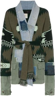 Alanui extended sleeve multitextured belted cardigan