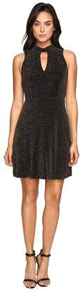 Jessica Simpson Lurex Gliter Dress with Mock Neck Women's Dress