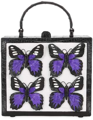 Nancy Gonzalez Butterfly Box Caiman Shoulder Bag
