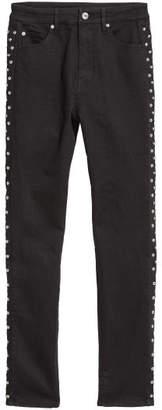 H&M Slim-fit Pants with Studs - Black