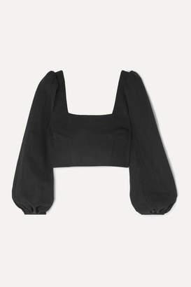 Racil Cropped Cotton-blend Faille Top - Black