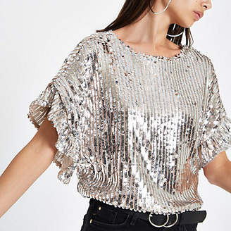 River Island Silver sequin embellished frill sleeve top