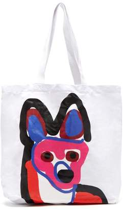 MAISON KITSUNÉ Acide Fox Print Cotton Tote - Mens - White Multi