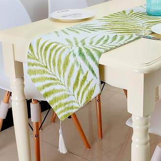 VIVIFabric Print Cotton Line Leaves Table Runner with Tassel for Holiday Parties, Seaside Romantic Dinner, Summer BBQ and Everyday Use, 12x79Inch