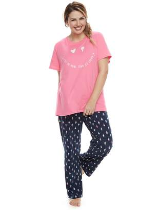 """Plus Size Jammies For Your Families """"Luv Ya More Than Ice Cream"""" Tee & Bottoms Pajama Set"""