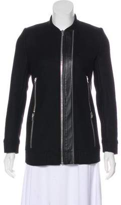 The Kooples Leather-Accented Wool Jacket