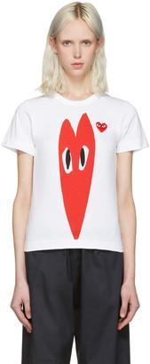 Comme des Garçons Play White Hearts T-Shirt $125 thestylecure.com