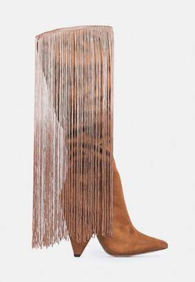 Missguided Brown Cone Heel Tassel Boots