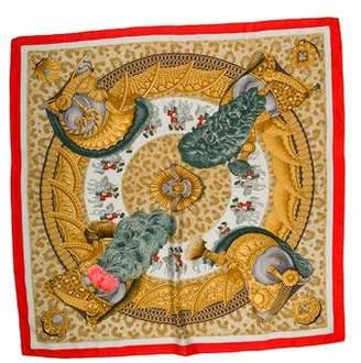 Hermes Casques et Plumetes Silk Scarf