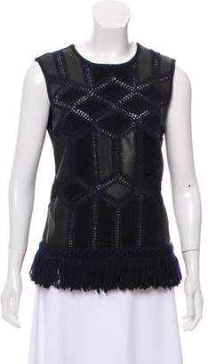 Derek Lam Leather Embroidered Top Black Leather Embroidered Top