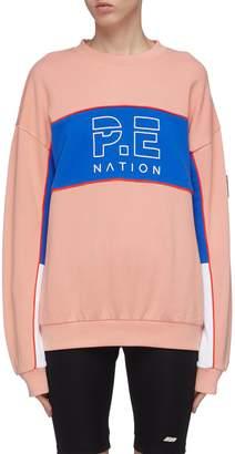 P.E Nation 'Sonic' colourblock panel logo print sweatshirt