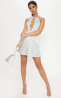PrettyLittleThing Silver Sequin Plunge Halterneck Skater Dress 1cc2dd0ce