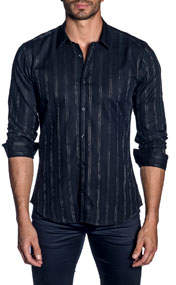 Men's Metallic-Striped Long-Sleeve Button-Down Shirt