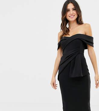 Bardot Asos Design ASOS DESIGN Fold Wrap Front Midi Pencil Dress