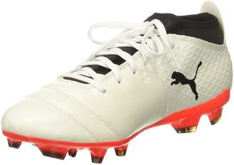 Puma Men's One 17.2 FG Soccer Shoe, White Black-Fiery Coral