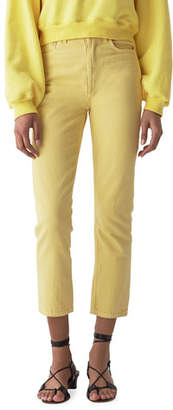 A Gold E AGOLDE High-Rise Cropped Straight-Leg Denim Jeans