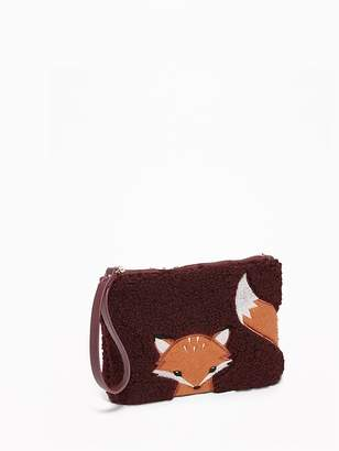 Old Navy Fox-Graphic Sherpa Wristlet for Women