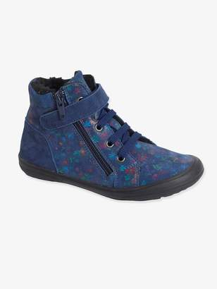 Vertbaudet High-Top Lined Leather Trainers for Girls