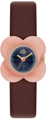 Orla Kiely Blue Flower Print Dial with Pink Flower Bezel and Red Leather Strap Ladies Watch